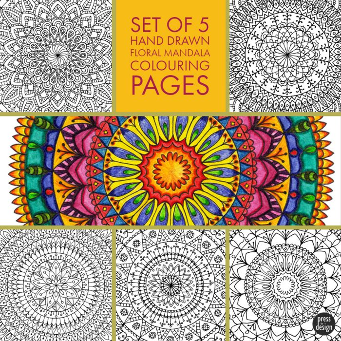 5 Floral Mandala Colouring Pages