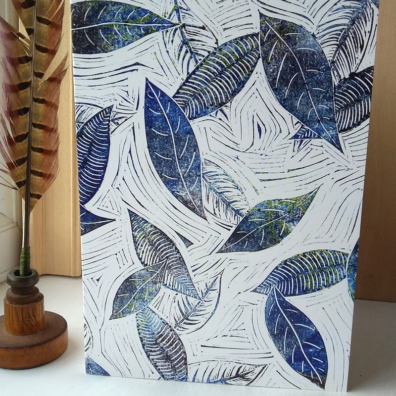 Blue Leaves of Winter A5 greetings card