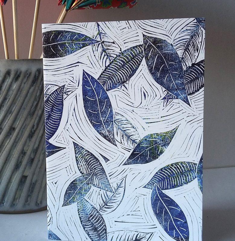 Blue Leaves of Winter greetings card