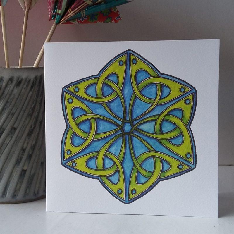 Celtic Trefoil Hexagon greetings card