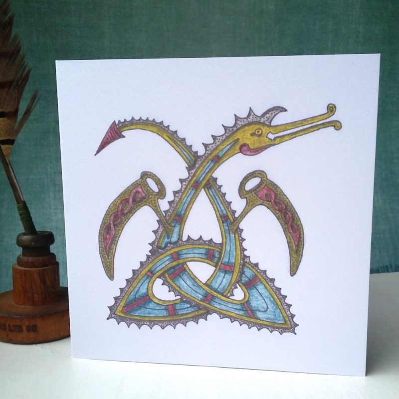 Celtic Triquetra Dragon greetings card