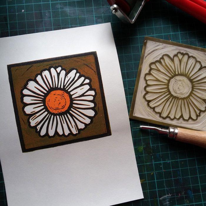 Daisy lino print production