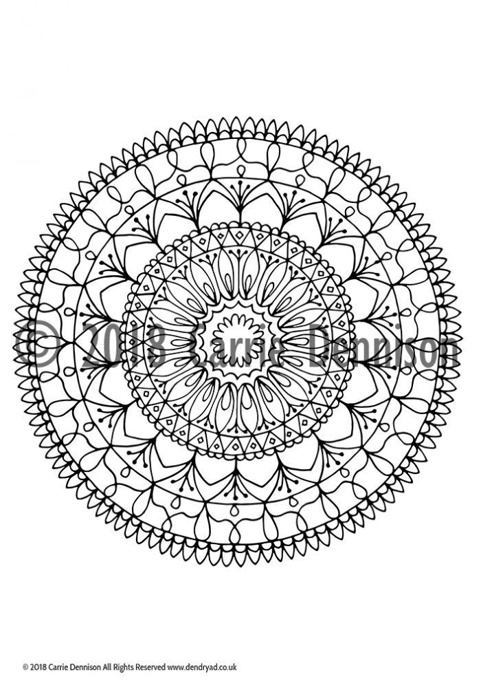 Dendryad Art - Set of 5 Floral Mandala Colouring pages