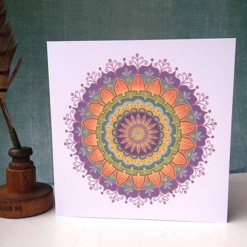 Floral Mandala greetings card