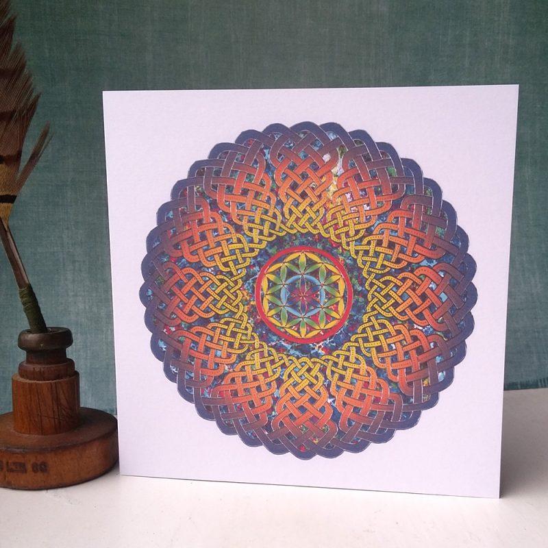 Flower of Life Celtic Mandala greetings card