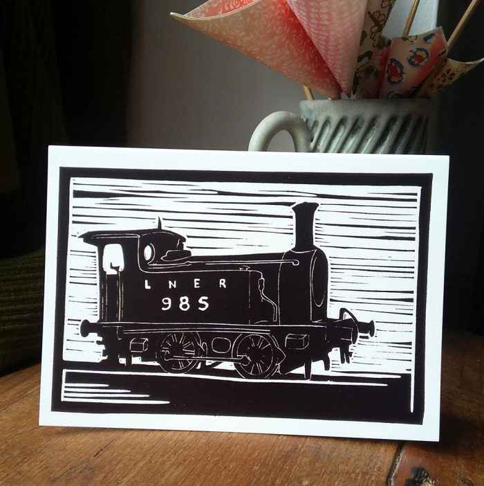 LNER 985 Steam Engine greetings card