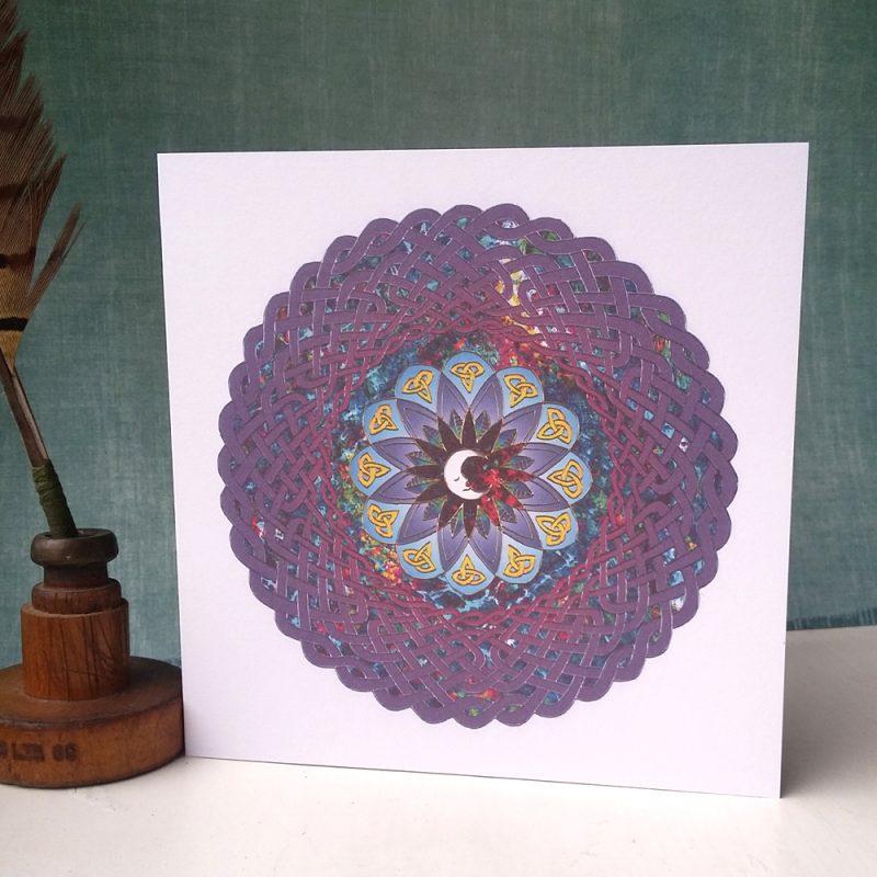Man in the Moon Celtic Mandala greetings card