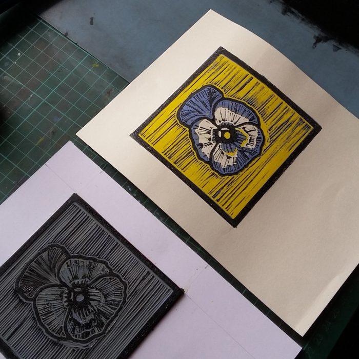 Pansy lino print production