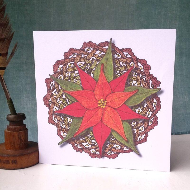 Poinsettia and Celtic Wreath greetings card