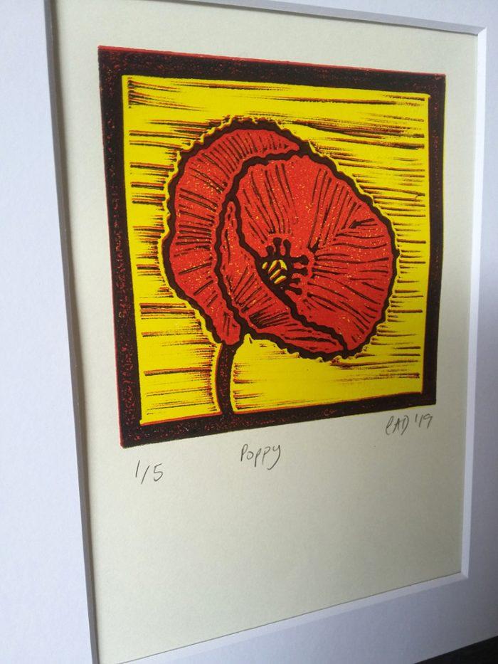 Poppy lino print