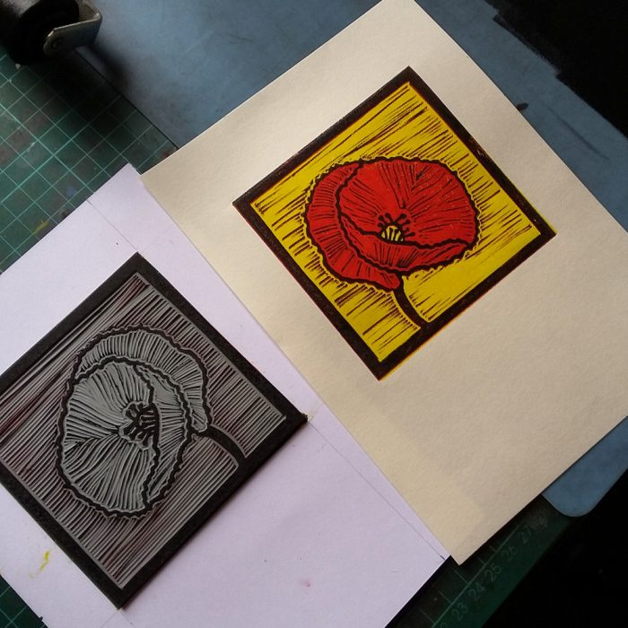 Poppy lino print production