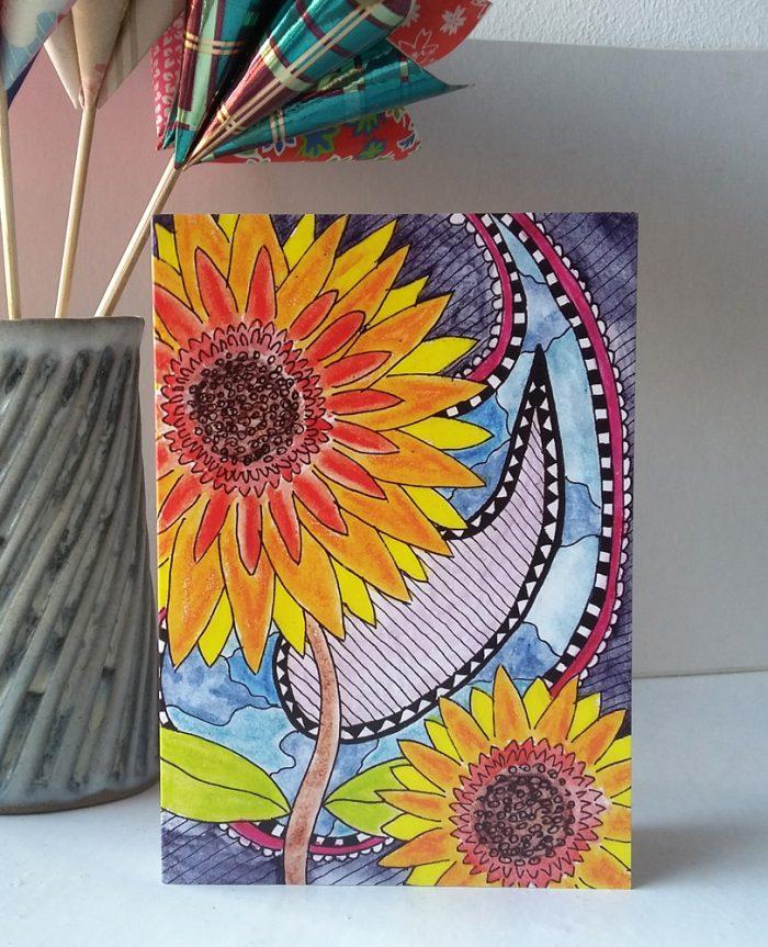 Santanas Sunflowers greetings card