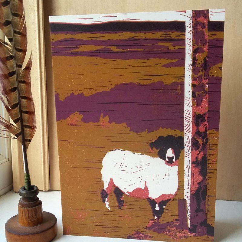 Sheep on Waskerley Moor A5 greetings card