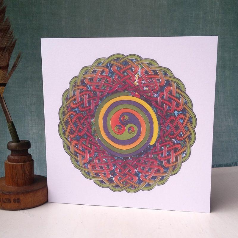 Spirals Celtic Mandala greetings card