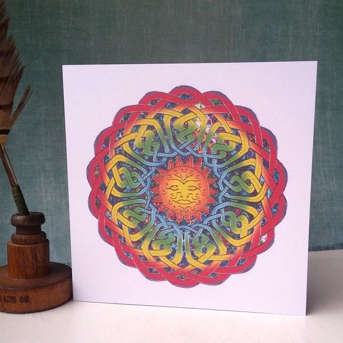 Sun Celtic Mandala greetings card