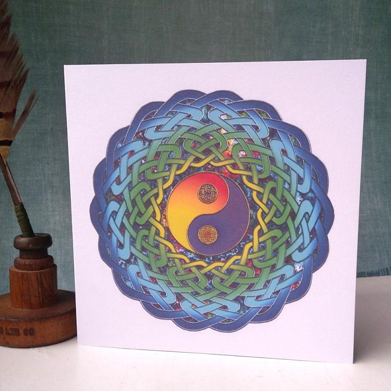 Yin Yang Celtic Mandala greetings card