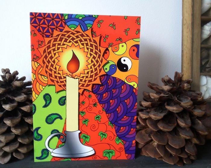 Yuletide Christmas card candle