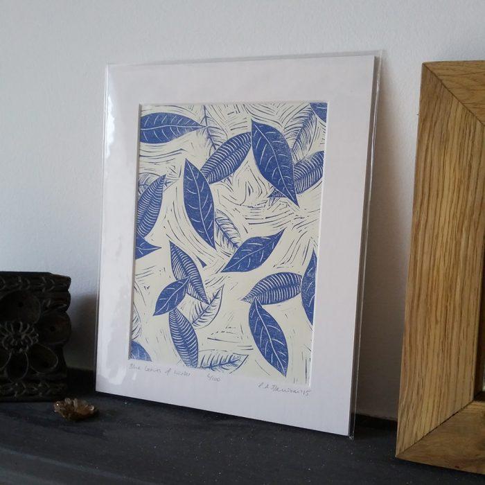 Blue Leaves of Winter lino print