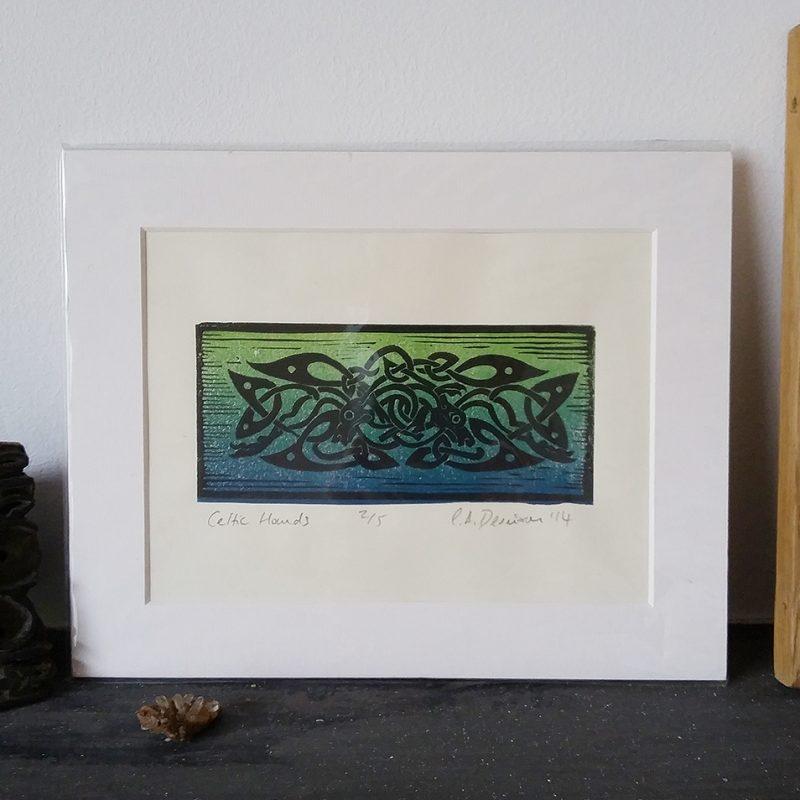 Celtic Hounds lino print