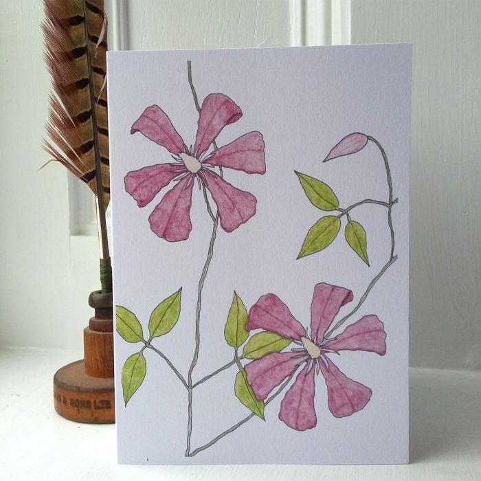 Clematis greetings card