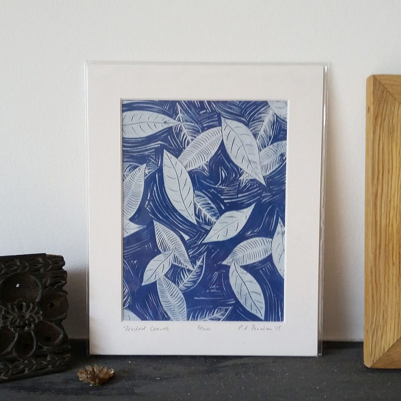 Frosted Leaves lino print