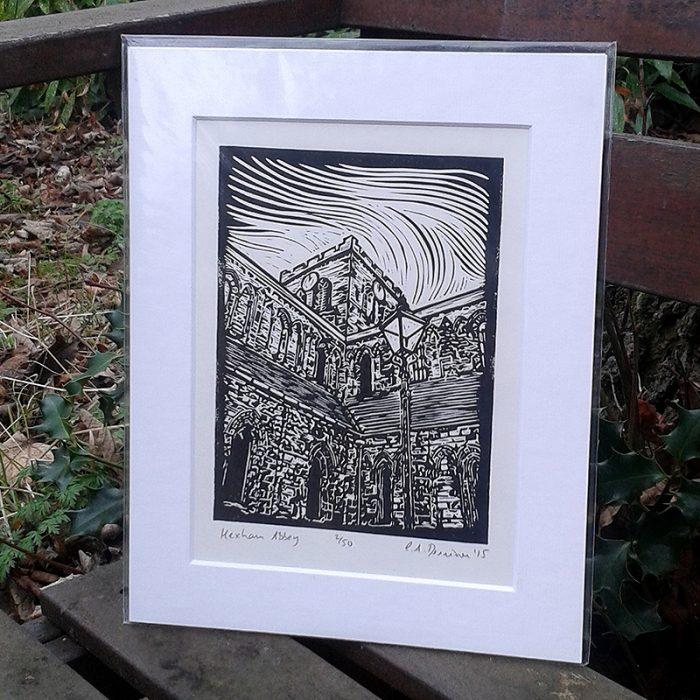 Hexham Abbey lino print