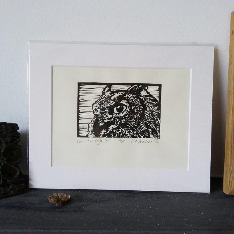 Oscar the Eagle Owl lino print