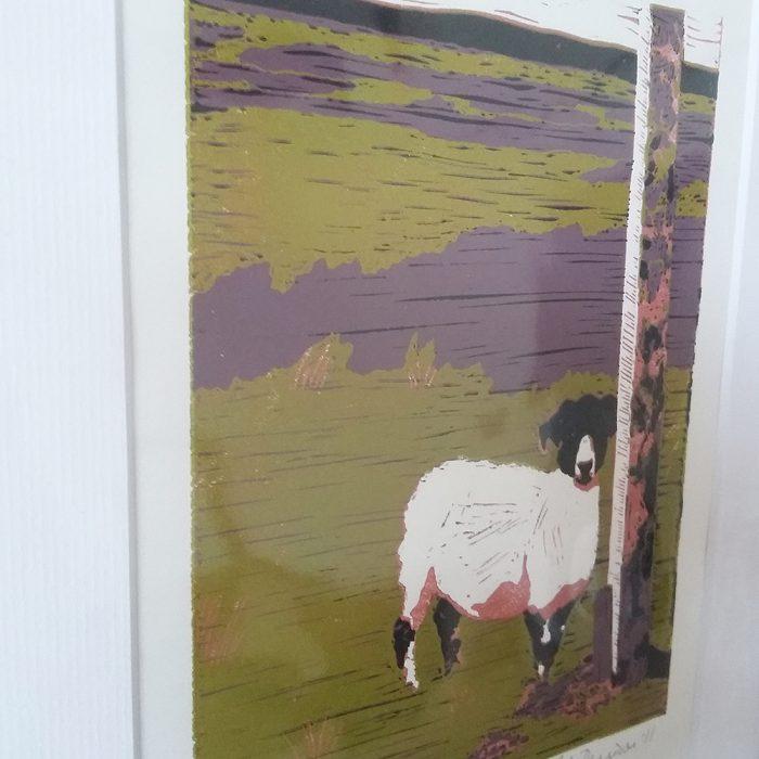 Sheep on Waskerley Moor lino print