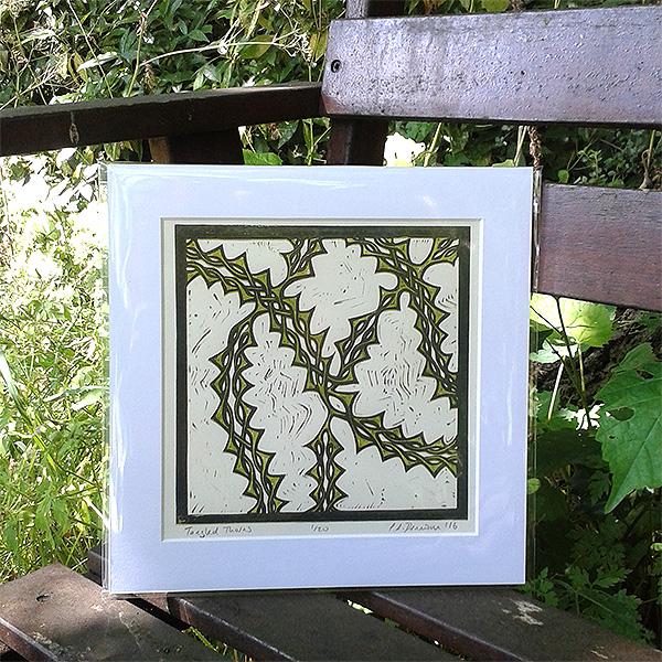 Tangled Thorns lino print