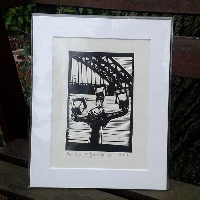 The Lamps of Tyne Bridge lino print