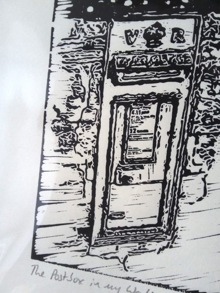The Postbox in My Wall lino print