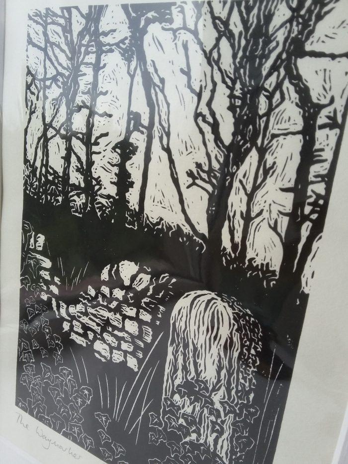The Waymarker lino print