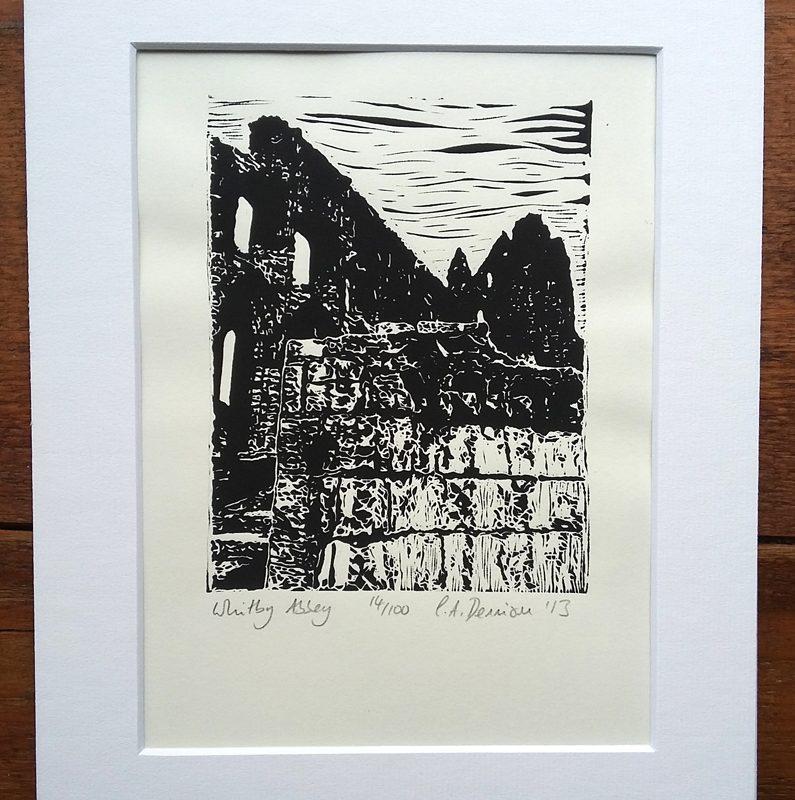 Whitby Abbey detail lino print