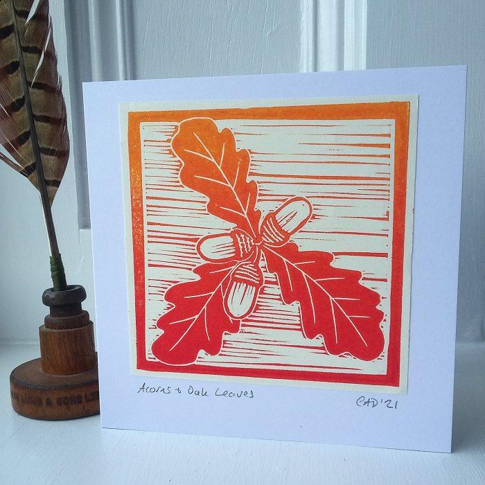 acorns and oak leaves lino printed greetings card